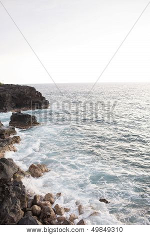 Hawaiian Coastline with Black Lava Rocks (The Big Island)