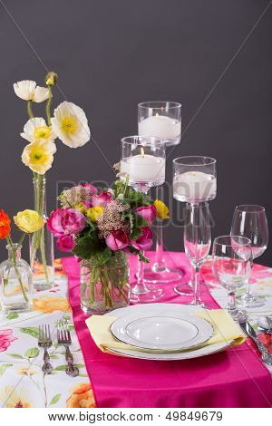 Pink Reception Table Setting