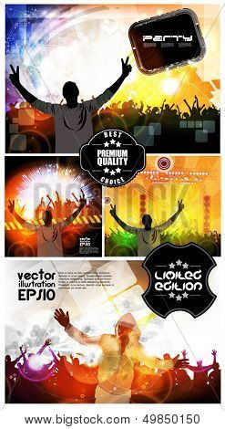 Discotheque illustration set. Vector