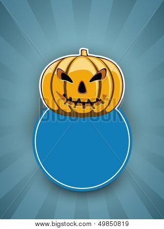 Tag, sticker ot label with smiling halloween pumpkin and blank note for your message.