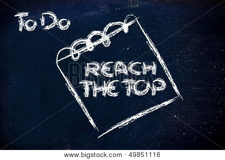 Must Reach The Top, Message On Memo On Blackboard