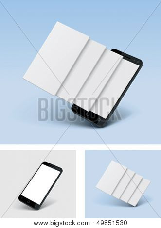 Vector smartphone icon with blank screens