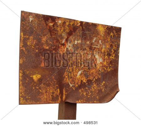 Picture or Photo of A rusted plaque, isolated