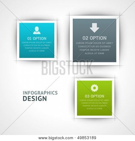 Infographics options design elements. Vector illustration. Square banner numbers and icons website eps 10.