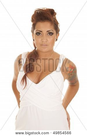 Woman Tattoos White Dress Stand Serious