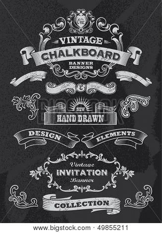 Collection of banners and ribbons in a vintage retro design style. Black chalkboard background. Labe poster