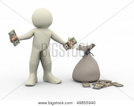 3D Man With Money Bags
