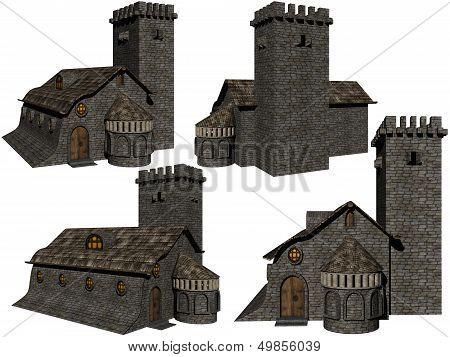 Castle On A White Background.