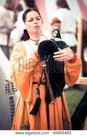 Medieval Bagpipe Musician