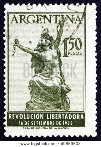 Postage Stamp Argentina 1955 Argentina Breaking Chains, Allegory