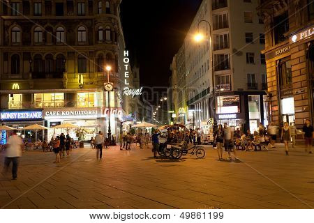 Tourists on a central square Vienna Austria