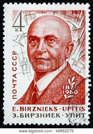 Postage Stamp Russia 1971 Ernests Birznieks-upitis, Latvian Writ