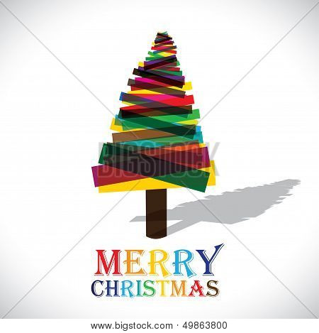 Abstract Colorful Xmas Tree On White Background- Vector Graphic