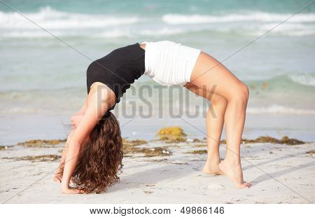 Woman performing a back bend