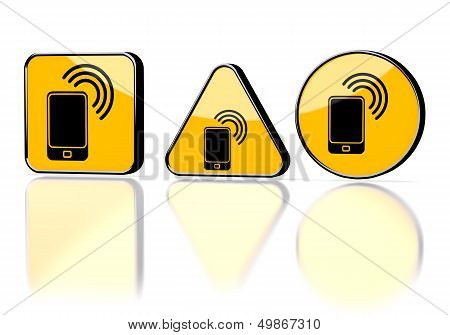 Smart Phone Symbol On Three Warning Signs