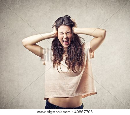 young woman with severe headache