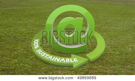 3D Render Of A Eco Email Sign  On Grass