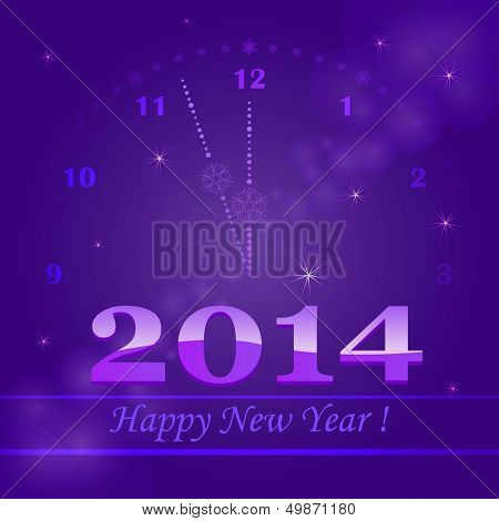 New 2014 year greeting card with clock dial.