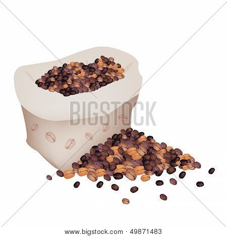 Various Kind Of Coffee Beans In A Sack