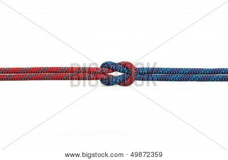a reef knot on a white background