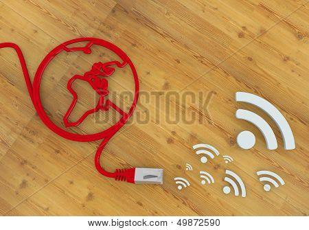 Wifi Symbol On Network To Home Office Desk