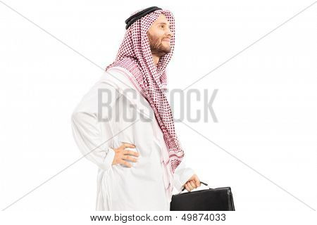Male arab person with suitcase posing isolated on white background