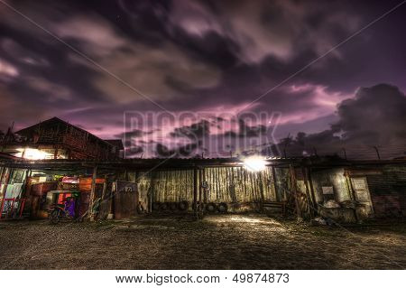 Purple Sky over an old hut