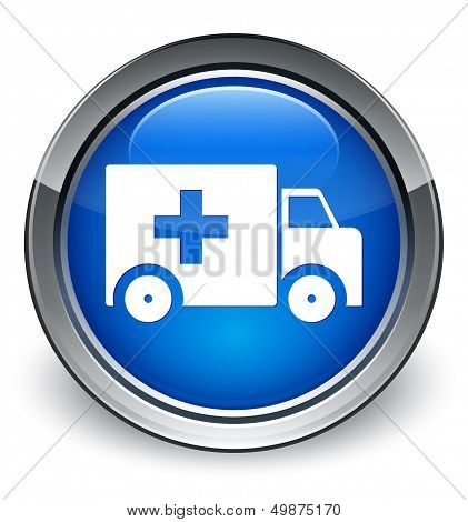 Ambulance Icon Glossy Blue Button