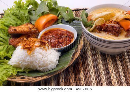 Sopa de rabo de boi e frango frito