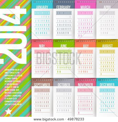 Vector design template - Calendar of 2014 with stitched labels-months