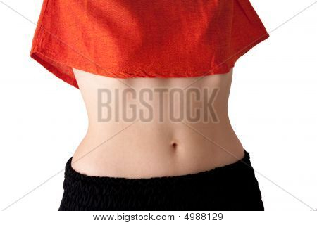 Young Woman's Belly, Isolated, Landscape Orientation.