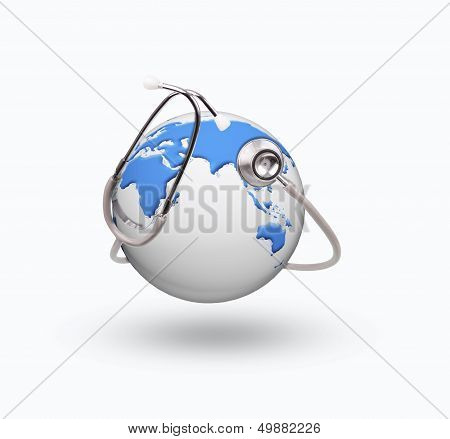 blue world globe with stethoscope for healthy care symbol