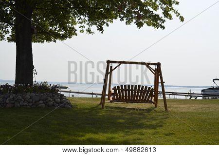 Swing overlooking the lake