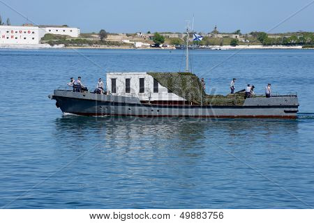 SEVASTOPOL, UKRAINE - MAY 8: Russian seamen prepare to the naval parade in honor of 230th anniversary of Black Sea navy in the bay of Sevastopol, Ukraine on May 8, 2013