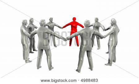Businessmen Circle With Red Member