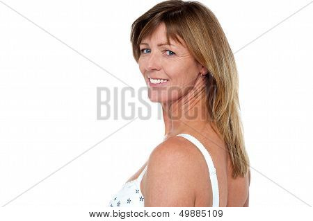 Glamorous Blonde Woman In Lingerie