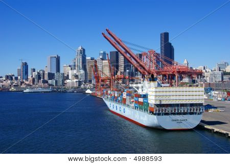 Container Ship And Dockyard Cranes, Seattle Waterfront