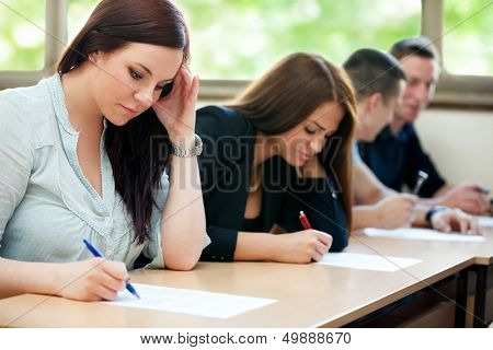 Students class have test in classroom
