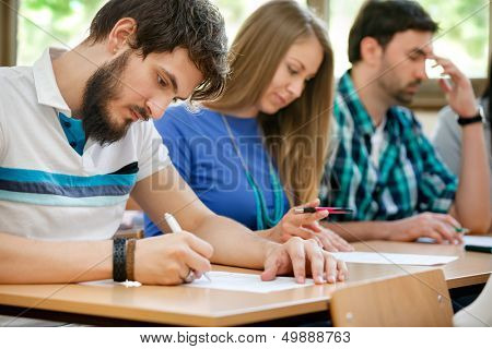 Student have test in classroom