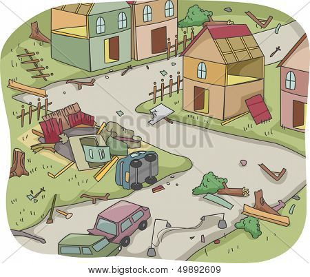 Illustration of Upturned Houses and Vehicles Depicting the Aftermath of a Disaster
