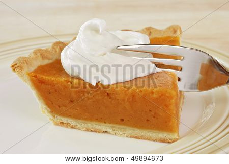 Slice of freshly baked pumpkin pie with whipped cream and fork.  Closeup with shallow dof.