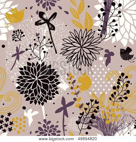Abstract floral seamless pattern in vintage colors. Seamless pattern can be used for wallpapers, pattern fills, web page backgrounds, surface textures. Gorgeous seamless floral background