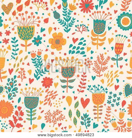 Abstract floral romantic background in bright colors. Seamless pattern can be used for wallpapers, pattern fills, web page backgrounds, surface textures. Gorgeous seamless floral background