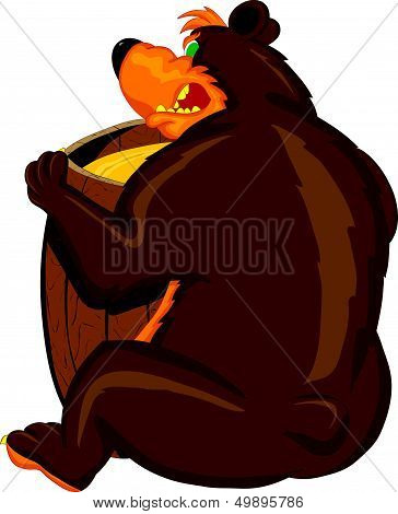Greedy bear with a barrel of honey dissatisfied growls