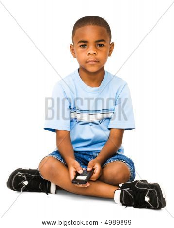 Portrait Of Boy Text Messaging