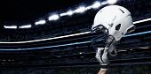 stock photo of football  - Raised Football Helmet at an American Football Stadium - JPG