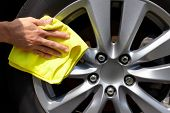 picture of wiper  - Hand with microfiber cloth cleaning car - JPG