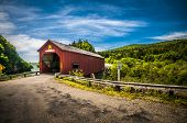 stock photo of covered bridge  - Covered bridge located in the region of Point Wolf New Brunswick Canada - JPG