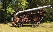 picture of threshing  - vintage threshing machine used to process grain - JPG