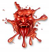 image of taint  - Scary blood with an evil halloween vampire character splattered and dripping on a white background as a spooky symbol of danger and fear as paranormal fantasy icon - JPG